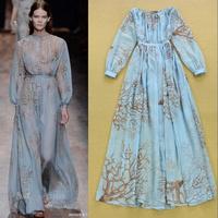 2015 spring and summer runway brand women's vintage blue sweet fresh elegant long-sleeved full expansion bottom long maxi dress
