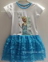 1PCS Frozen Dress Elsa & Anna Summer Dress For Girl 2014 New Hot Princess Dresses Brand Girls Dress Children Clothing G205