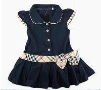 6-10Yrs Baby Girls Dress Plaid Print 100%Cotton Brand Children Girls Princess/Party Dresses New Spring Autumn 2015 Kids Costumes