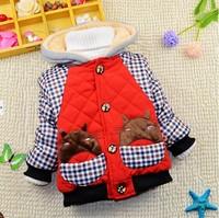 1-5Y 2014 winter little boys warm plaid cotton-padded jacket coat imitated fur fleece liner X14065