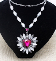 2015new elegant Brand flower cat eye crystal pendant long necklaces trendy party long chain jewelry for women free shipping
