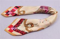 53x53cm 100 pure silk scarves horse carriage christmas headband women hair ornament  free shipping