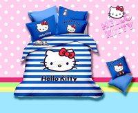 Girls bedding sets blue zebra hello kitty cat bedding sets print bedding 100cotton oil painting bedding bedroom sets