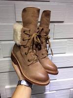 Hot sales New 2014 Autumn winter brand design quality Genuine leather low heel australia wool winter snow boots women#YS370