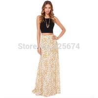 2015 New fashion European and American daisy floral print waist long skirts plus size XS-XXL  W515