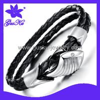 2014 Gus-STLB-008 New arrival Fashion angel wings of titanium steel true leather bracelet