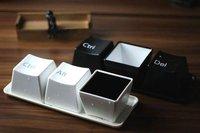 free shipping 100pcs/ctn keyboard cup fashion mug per set include ctrl del alt 3 pieces mug and a tray black set white set mixed
