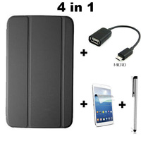 For samsung galaxy tab3 T310 T311 8inch, 1:1 office PU leather flip stand cover case + OTG + Stylus + Screen protector