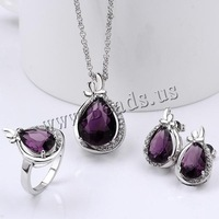 Free shipping!!! Jewelry Set,High Quality Jewelry, Brass, finger ring & earring & necklace, with 2lnch extender chain, Teardrop