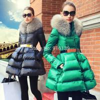Prase 2015 Women White Duck Down Coat Thickening Slim Winter Jacket Plus Size XXL Luxury Raccoon Fur Collar Parka Warm Overcoat