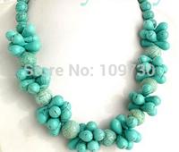 "Jewelr 004118 ROUND & Drip Light Blue Turquoise Necklace 21"" 14K GP"