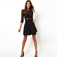 Lace stitching chest wrapped waist deep V back round neck long-sleeved dress sexy