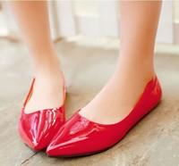 2015 NEW shoes women candy color PU woman flats ballet princess single shoes for casual 5 color choose