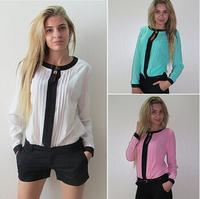 Free Shipping Fanshou 2014 Women Autumn Spring Fashion Casual Top Blouse Chiffon Blouse Patchwork Shirts Woman with Size Shirts
