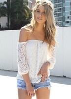 New Fashion EU Style Women T-shirts Lace Flower  T-shirt Clothes Slash Neck White Color Free Ship