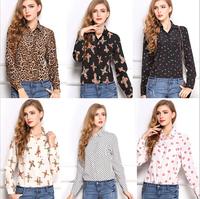New Brand European Style 2014 Autumn Women Long Sleeve Print Chiffon Blouse Vintage Plus Size Leopard Dot Shirt Tops B-2039