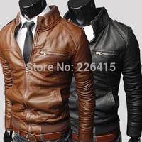 Fashion Zipper Design Leather Jacket Men Short Slim Jaqueta Couro Casual Stand Collar Motorcycle Leather Jacket Plus Size M-XXXL