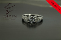 Ornate sterling silver ring with filigree plant design / fashion ring for women make up adornment