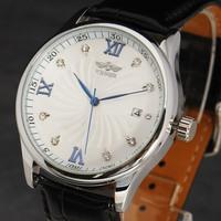 Winner 2015 newest fashion calendar luxury rhinestone leather strap men boy classic mechanical sefl-wind wrist watch relogio