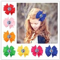 18 Colors Boutique Frozen Hair Bows Anna & Elsa Hair Clip Ribbon Flower Children Hair Accessories 12pcs HYS62