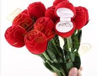 80pcs jewelry boxes Valentine's Day birthday wedding rose ring box earrings box velveteen flower jewelry bag ring holder