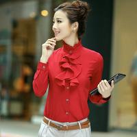 Free Shipping HOT Sale Women's Casual OL Tops,Plus Size Women Blouse Body,Concise Fashion Long-sleeved Chiffon Shirts