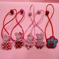 50pcs Cute Girls Peppa Pig Hairband Kids George Pig Hair Rope Hairpin Baby Hair Clip Baby Hair Accessories