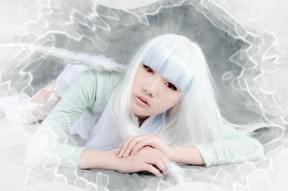 Lindo populares das mulheres médio Bob branco misturado sintético Manga Cosplay demônios e realista michael de noiva peruca festa de carnaval(China (Mainland))