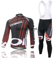 Free shipping! Orbea 2014 #2 red long sleeve autumn bib cycling wear clothes bicycle bike cycling jersey bib pants set+gel pad