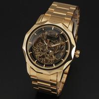 Winner Brand 2015 newest fashion casual men skeleton gold full steel Band mechanical self wind army luxury male wrist watch