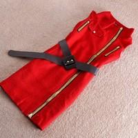 2014 Winter Women Wool DESIGN WOMAN DRESS Elegant sleeveless Skinny Dress Red Black Plus Size Dresses FASHION brand DRESS SY2703
