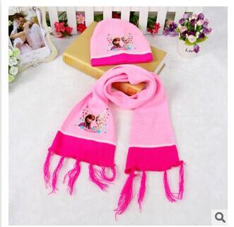 The New Frozen winter Scarf knit Hat set 2PCS kids warm hat and scarf set(China (Mainland))