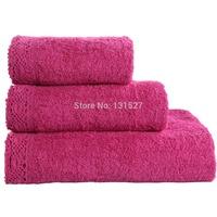 3pcs/lot Towel Set Lace Border Embroidery 100% Cotton Handkerchief+Face Cloth+Bath Towels Wholesale Terry Towels For Adults