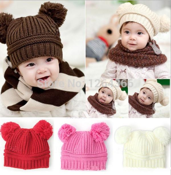 2014 Korean Baby Girls Boys Infant Kids Children Dual Ball Knit Sweater Cap Hats Winter Warm Knitted Child Beanie accessories(China (Mainland))