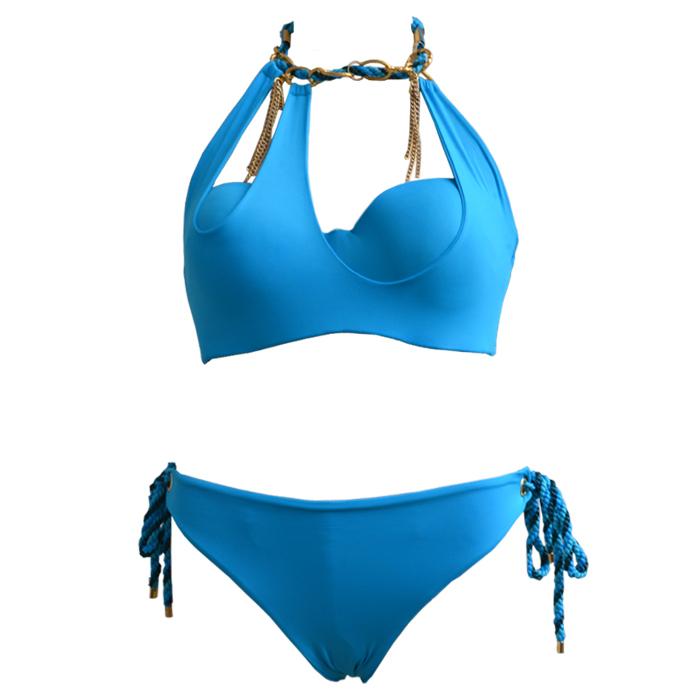women's bandage high waist swimwears\bathing suits ladies blue gold chain sexy fringe retro vintage triangl biquini\bikinis sets()