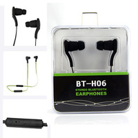HOT BT-H06 Stereo Bluetooth Headset One String Earphone Earbuds for iPhone 4 5 6 Samsung HTC Xiaomi Smartphone Sports Earphones