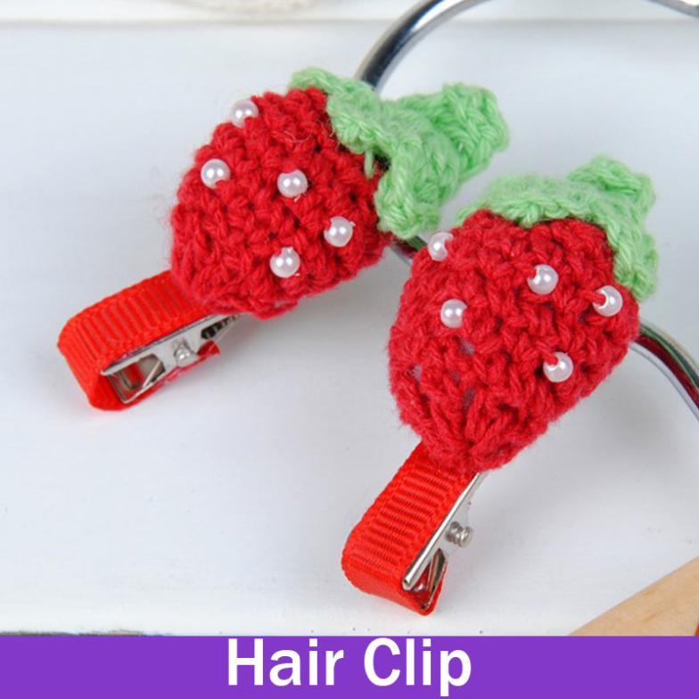 2 x Baby Girls's Hair Clips Crochet Strawberry Lovely Woolen Flower Barrettes For Girls Children Hair Accessories Hair Ornament(China (Mainland))
