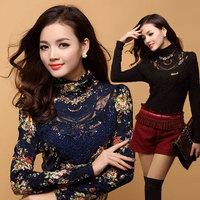 autumn women's slim lace rhinestones thickening basic shirt high quality long-sleeve T-shirt Women