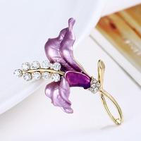 2014 New Style Rhinestone Garnet Enamel Flower Gem WeddingBreastpin Pin Brooch Bouquet Free Shipping