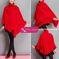 Red Wool Blend Asymmetrical Hem Cloak Shawl Cape Jacket Poncho Coat Outwear Tops 2015 New Arrivals Hot