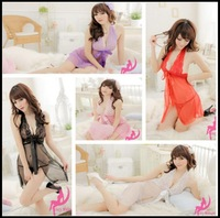 100sets/lot Sexy Women Hot See Through Lace Lingerie Dress+G-string Thongs Bow-knot Dress 5 Colors Costumes  New 2014