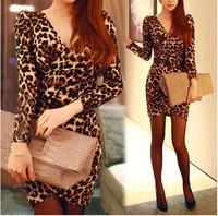 2015 New Fashion Summer Leopard Dress Women's V-neck Puff Sleeve Mini Dress Ladies Plus Size Vestidos Sexy Party Dresses