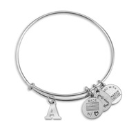 Letter Names Silver Color Expandable Wire Charm Bracelet Adjustable Bangle