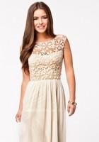 2015 women's chiffon dress length  openwork lace  Elegance evening party dress D8809