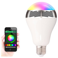Dimmable E27 6W Colorful RGB LED Bulb  Wireless Bluetooth Music Audio Speaker For smartphone laptop IPAD IPHONE