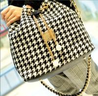 New Fashion Women bag chains bucket bag canvas patchwork women shoulder bag messenger bag women handbag Promotion