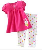 Children's T-shirt + pants suits baby girls short-sleeved cotton summer suit cartoon rabbit dot kids clothes 2014 New Clothes