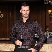free shipping&Male autumn long-sleeve mercerized cotton shirt men's clothing commercial big turn-down collar plaid shirt male