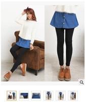 5 pieces pencil Pants With Mini Faux blue denim Skirt Warm False Two Pieces Leggings Fashion Stretch 2 In 1 trouser