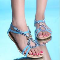 Hot sale new Bohemian diamond peep-toe flat zipper female sandals free shipping